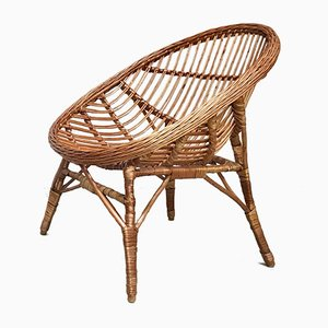 Italian Wicker Rattan Lounge Chair, 1950s