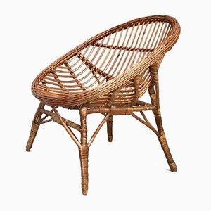 Italian Wicker Rattan Lounge Chair, 1950s