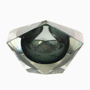 Cenicero en gris antracita transparente y cristal sumergido en cristal de Murano estilo Flavio Poli, años 60