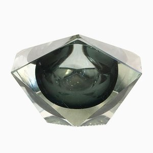Transparent and Anthracite Gray Ashtray Submerged in Murano Glass in the Style of Flavio Poli, 1960s