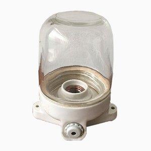 Mid-Century White Ceramic Naval Lamp