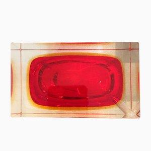 Transparenter roter Aschenbecher in Murano Glas im Flavio Poli Stil, 1960er