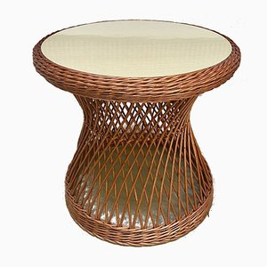 Italian Round Wicker Side Table with Resopal Top, 1950s