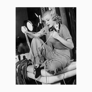Ginger Rogers Working On Her Sailors Knots Archival Pigment Print Framed in Black by Everett Collection