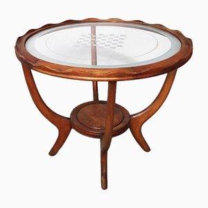 Niedriger Mid-Century Nussholz Tisch mit Kreisförmigem Muster aus Transparentem Glas & Schachbrettmuster