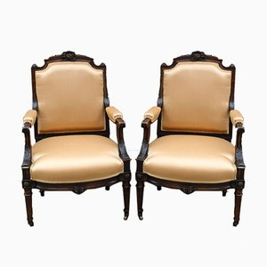 Louis XVI Walnut Armchairs, Set of 2