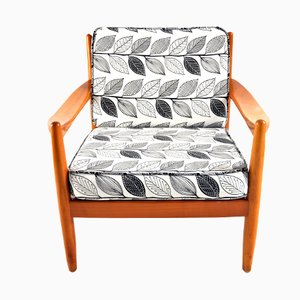 Danish Teak Lounge Chair with Leaf Print