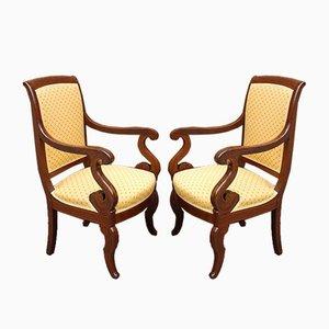 Charles X Armlehnstühle mit Intarsien, 2er Set