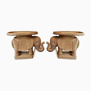 French Rattan Elephant Side Tables. 1970s, Set of 2