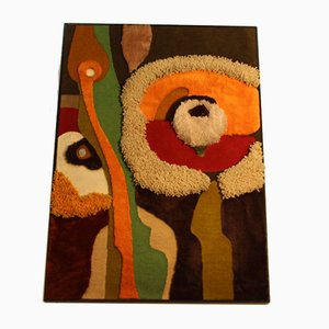 Handmade Wall Carpet Collage by Manfred Leib, 1980s