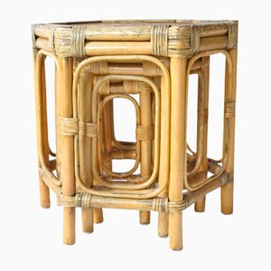 Bamboo & Raffia Hexagonal Nesting Tables, 1960s, Set of 3