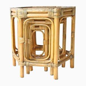 Tavolini ad incastro esagonali in bambù e bambù, anni '60, set di 3