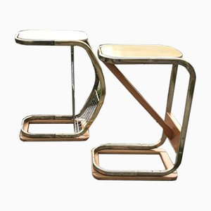 Mid-Century Italian Side Tables with Magazine Rack, 1950s Set of 2