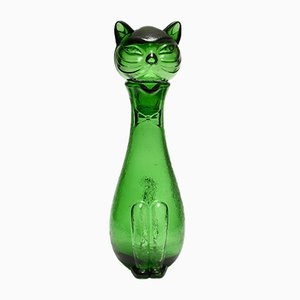 Italian Green Glass Cat Decanter from Empoli, 1960s