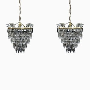 Italian Art Deco Four-Tier Crystal Glass Chandeliers, 1930s, Set of 2