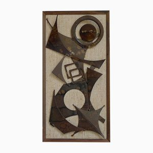 Danish Brutalist Abstract Wall Sculpture in Burnished Iron by Henrik Horst, 1960s