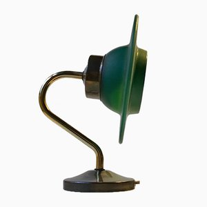 Scandinavian Wall Sconce in Brass and Green Glass, 1960s
