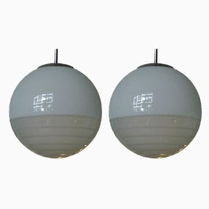 Art Deco Bauhaus Ball Ceiling Lamps in Satinized & Stepped Glass, 1940s, Set of 2