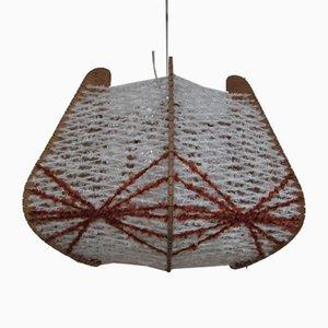 Skandinavische Deckenlampe aus Holz & Draht, 1960er