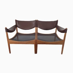 Modus Oak & Leather Sofa by Kristian Vedel for Soren Willadsen, 1963