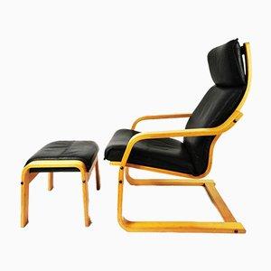 Vintage Armchair & Footrest from Verikon Furniture, Denmark, 1970s, Set of 2