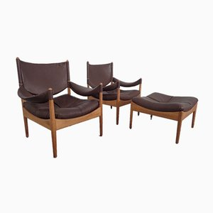 Modus Oak & Leather Lounge Chairs & Ottoman by Kristian Vedel for Soren Willadsen, Set of 3, 1963
