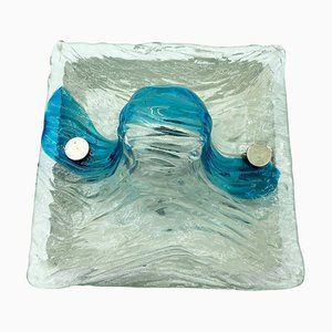 Murano Glass Blue Quilt Sconce by Toni Zuccheri for Venini, 1970s
