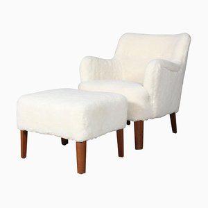 Lounge Chair & Ottoman in Lambskin by Peter Hvidt, 1940s, Set of 2