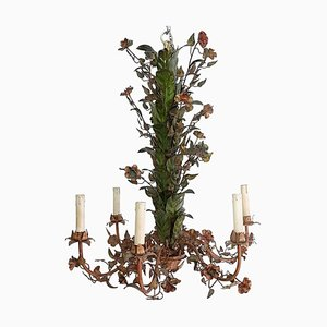 Mid-Century Italian Tole and Flower Chandelier, 1950s
