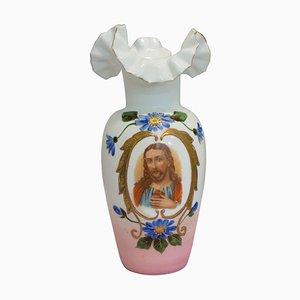 Französische Opalglas Herz Vase, spätes 19. Jh