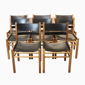 Scandinavian Oak and Saddle Leather Chairs, 1970s, Set of 8