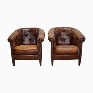 Vintage Dutch Chesterfield Cognac Leather Club Chairs, Set of 2
