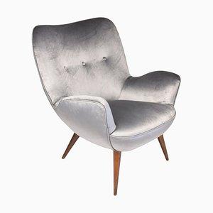 Mid-Century Grey Velvet Armchair by Franco Buzzi, 1940s