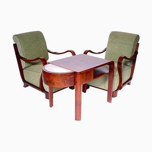 Antike Armlehnstühle und Couchtisch, 3er Set