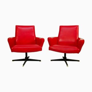 Red Swivel Armchairs from Drevotvar, 1978, Set of 2
