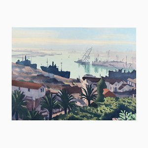The Port of Algiers Lithograph by Albert Marquet, 1940s