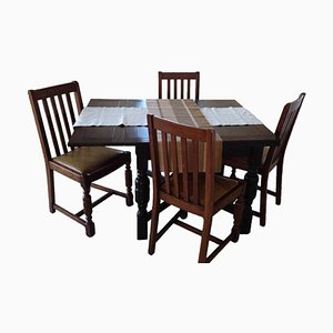 Solid Wooden Adjustable Table & Chairs, Set of 5