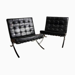 Chrome & Black Leather Barcelona Chairs by Ludwig Mies van der Rohe for Knoll International, 1950s, Set of 2