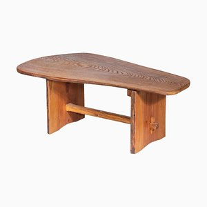 Brutalist Sculptural Coffee Table in Solid Pine, 1970s
