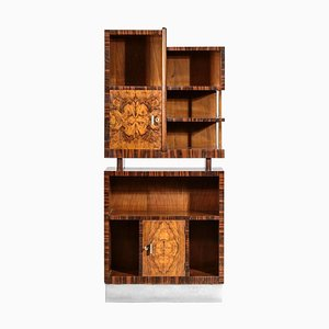 Modernist Italian Bar Cabinet Bookcase in the Style of Gio Ponti, 1950s