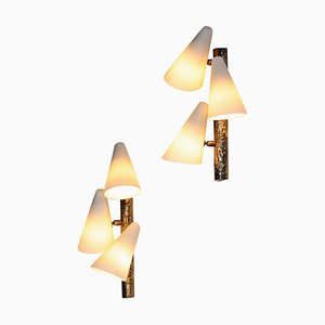 Italian Wall Lights in Brass, 1950s, Set of 2