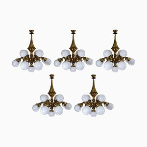 National Gallery Monumental Brass Chandeliers with Opaline Glass Globes, Prague, 1920s, Set of 5