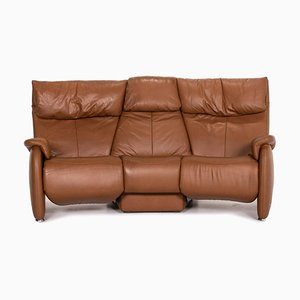 Brown Leather Trapeze 3-Seat Sofa from Himolla
