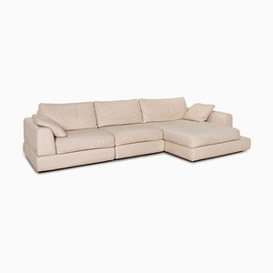 Cream Leather Diagonal 2375 Corner Sofa from Natuzzi