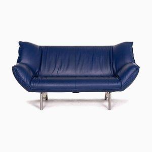 Dark Blue Leather Tango 2-Seat Sofa from Leolux