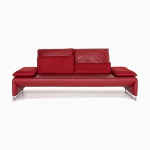 Red Leather Ramon 2-Seat Sofa from Koinor