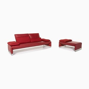 Red Leather Ramon 2-Seat Sofa & Stool from Koinor, Set of 2