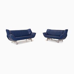 Dark Blue Leather Tango 3-Seat & 2-Seat Sofas from Leolux, Set of 2