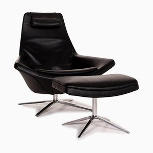 Black Leather Metropolitan Armchair & Stool from B&B Italia, Set of 2
