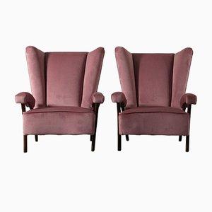 Italian Beech, Springs, Foam & Velvet Armchairs, 1950s, Set of 2